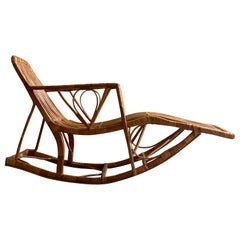 Midcentury Rattan Daybed Chaise Longue Rocker Madeira, circa 1950