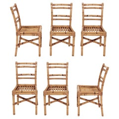 Midcentury Rattan Dining Room Italian Side Chairs with Rattan Sticks Seat, 1970s