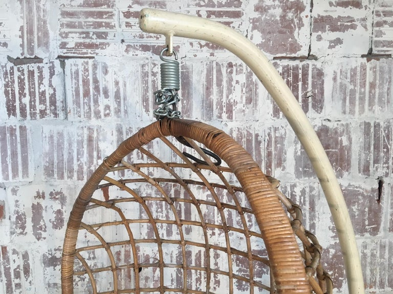 Midcentury Rattan Hanging Pod Chair with Stand In Good Condition For Sale In Jacksonville, FL
