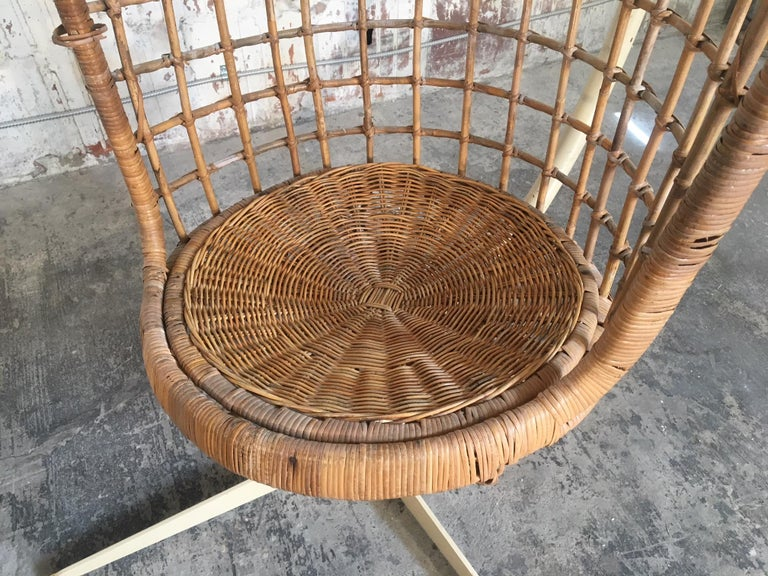 Late 20th Century Midcentury Rattan Hanging Pod Chair with Stand For Sale