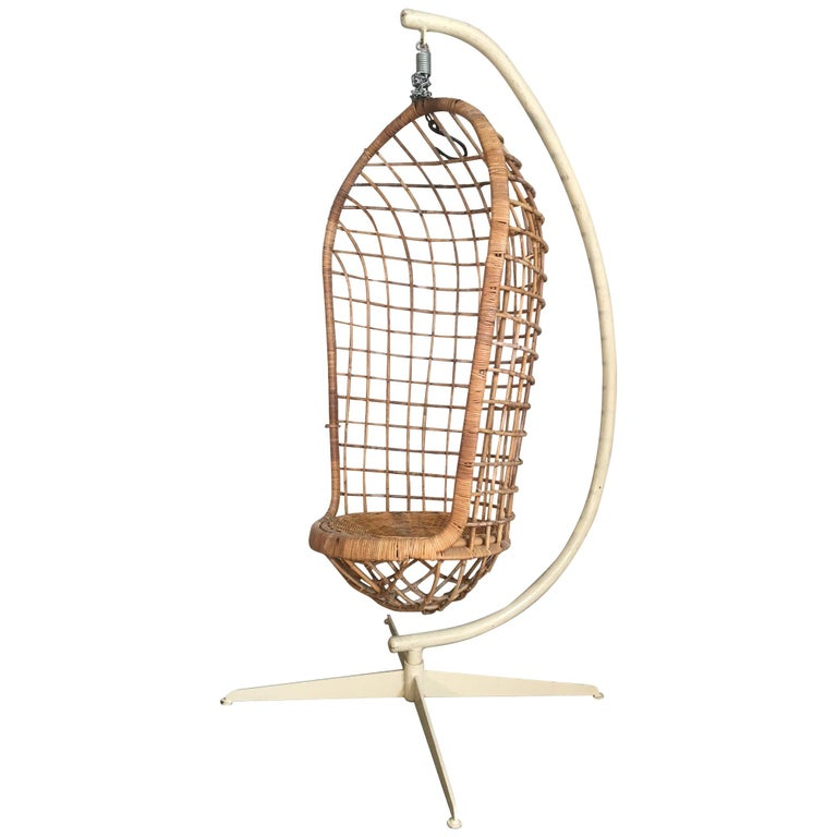 Midcentury Rattan Hanging Pod Chair with Stand For Sale