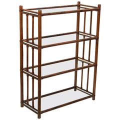 Midcentury Rattan Italian Bookcase with Four Crystal Glass Shelves, 1960s