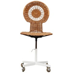 Midcentury Rattan Rolling Office Chair
