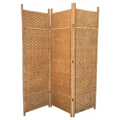 Midcentury Rattan Room Divider or Screen Three-Fold Screen, Split Bamboo