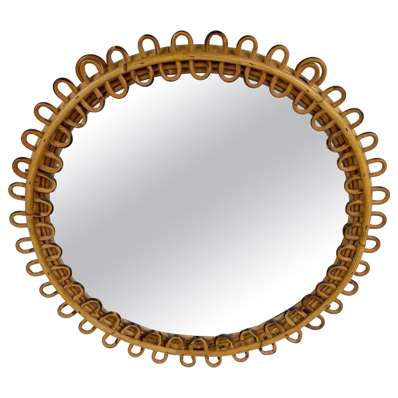 Midcentury Rattan Round Wall Mirror, Italy, 1960s