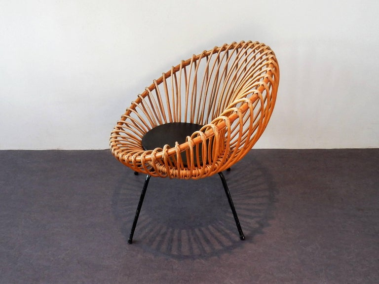 Mid-Century Modern Midcentury Rattan Scoop Chair in the Style of Rohé and Franco Albini