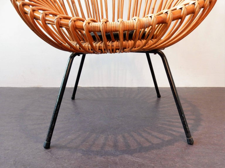 Dutch Midcentury Rattan Scoop Chair in the Style of Rohé and Franco Albini