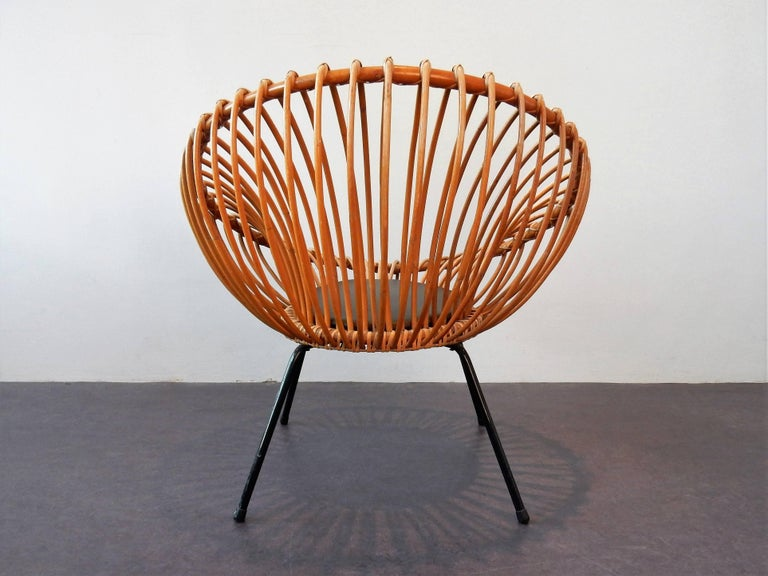 Mid-20th Century Midcentury Rattan Scoop Chair in the Style of Rohé and Franco Albini