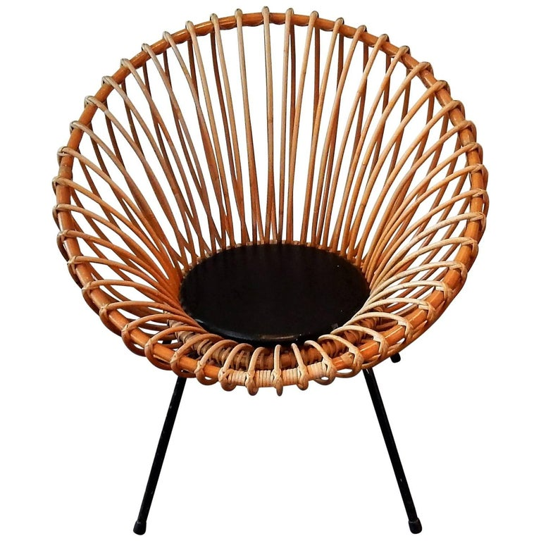 Midcentury Rattan Scoop Chair in the Style of Rohé and Franco Albini