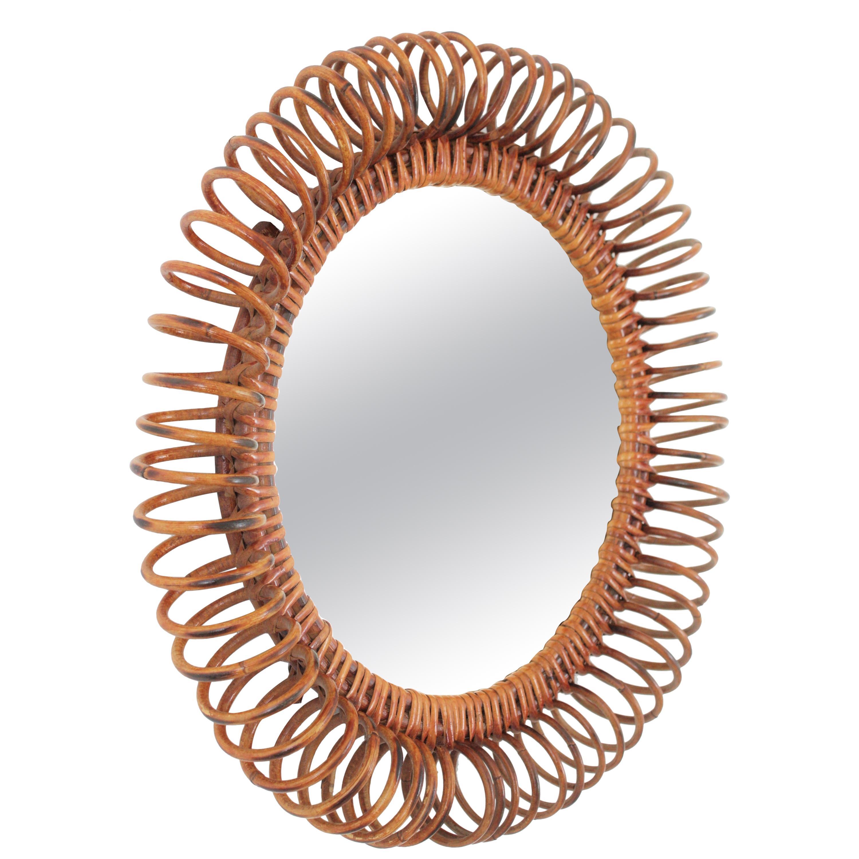 Midcentury Rattan Spiral Circular Mirror in the Manner of Franco Albini