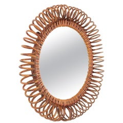 Midcentury Rattan Spiral Circular Mirror in the Manner of Franco Albini