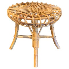Midcentury Rattan Stool in the Style of Franco Albini