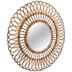 Midcentury Rattan Sunburst Flower Burst Mirror, Spain, 1960s
