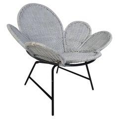 Midcentury Rattan Wicker Tulip Chair