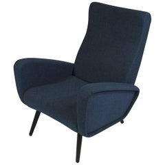 Midcentury Reclining Chair in Blue Wool