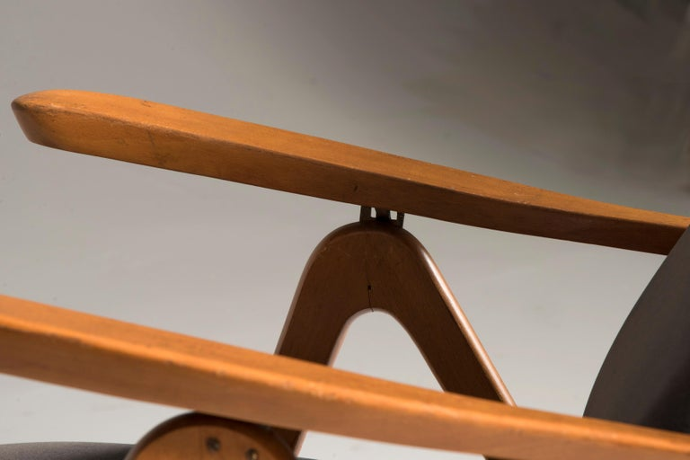 Midcentury Reclining Grey Velvet Armchairs For Sale 4