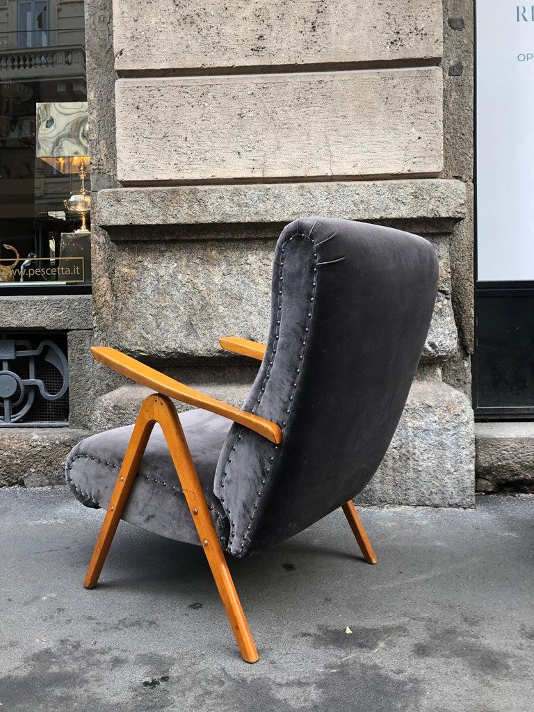 Midcentury Reclining Grey Velvet Armchairs For Sale 7