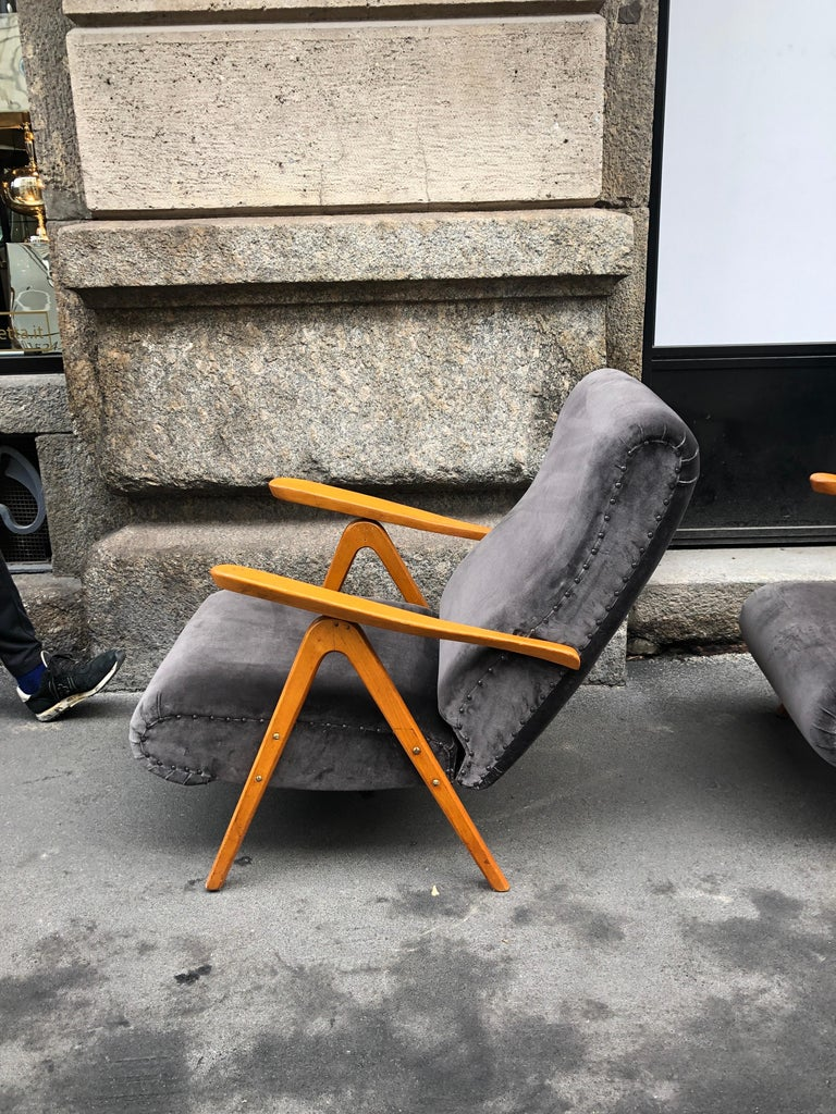 Midcentury Reclining Grey Velvet Armchairs For Sale 8