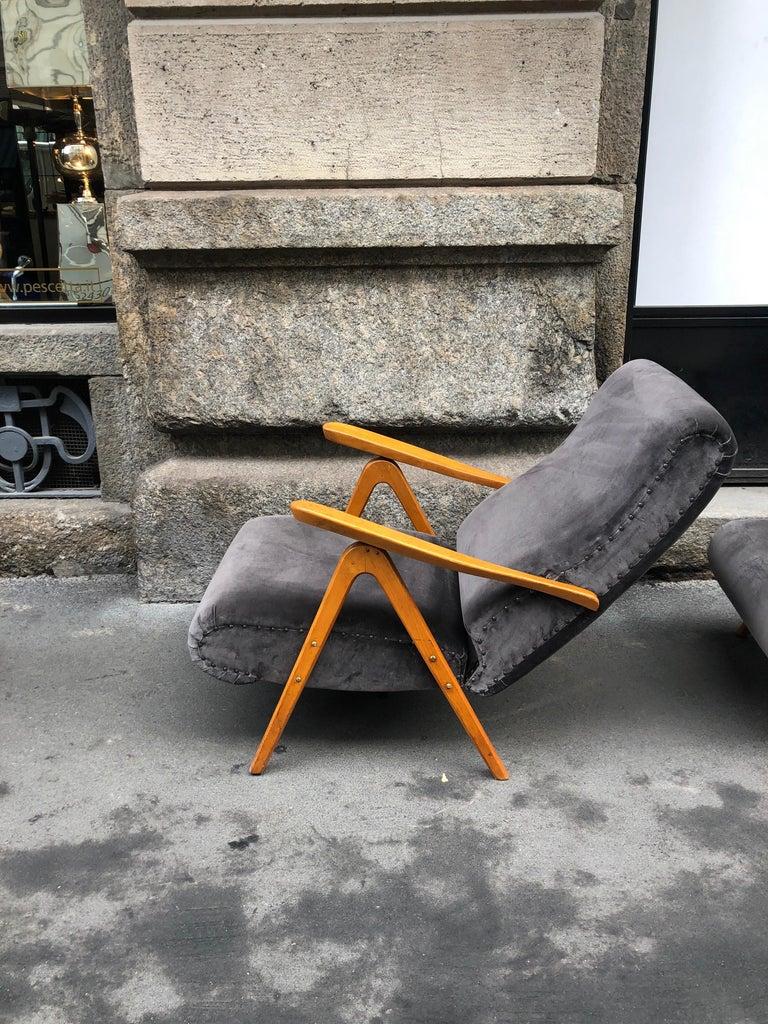 Midcentury Reclining Grey Velvet Armchairs For Sale 9