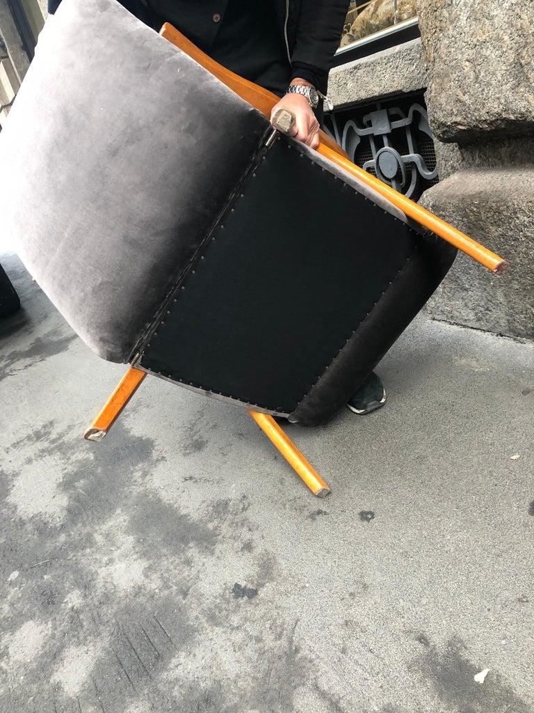 Midcentury Reclining Grey Velvet Armchairs For Sale 11