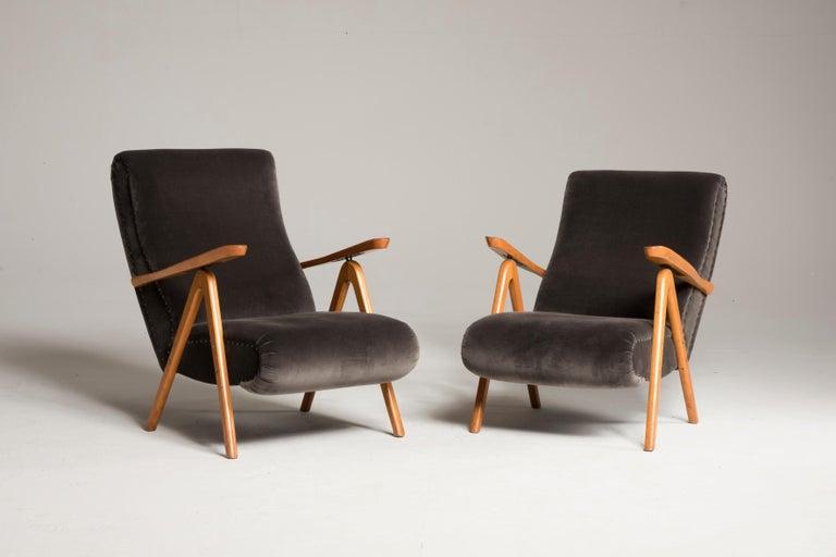Mid-Century Modern Midcentury Reclining Grey Velvet Armchairs For Sale