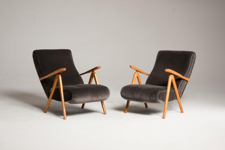 European Midcentury Reclining Grey Velvet Armchairs For Sale
