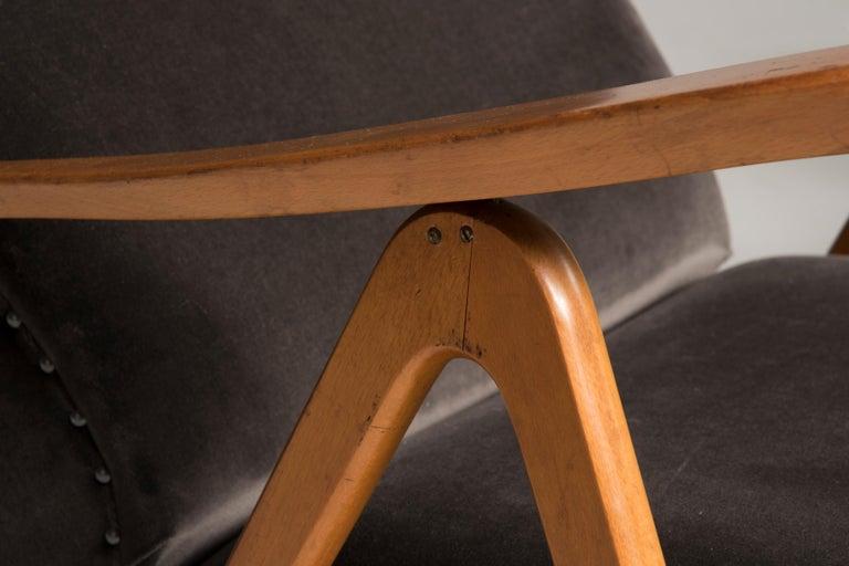 Midcentury Reclining Grey Velvet Armchairs For Sale 1
