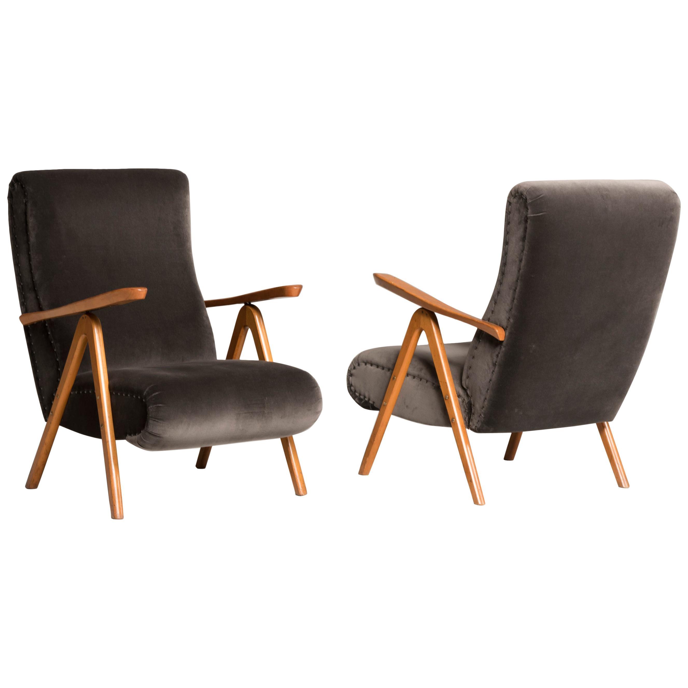 Midcentury Reclining Grey Velvet Armchairs