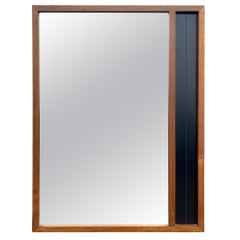 Midcentury Rectangle Walnut Frame Mirror with Black Lacquer Very Beautiful