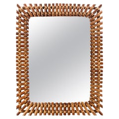 Midcentury Rectangular Bamboo Framed Mirror