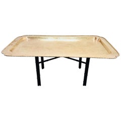 Midcentury Rectangular Brass Tray Coffee Table