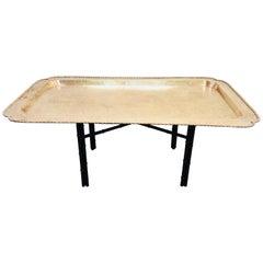 Midcentury Rectangular Brass Tray Coffee Table