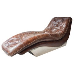 Midcentury Rectangular Brown Chromed Capitone Leather English Chaise Lounge 1970