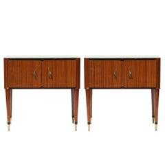 Midcentury Rectangular Brown Wood Brass Glass Italian Night Tables, 1950