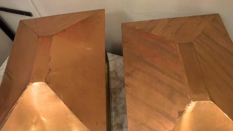 Late 20th Century Midcentury Rectangular Copper Spanish Design Photophores for Light or Candles For Sale