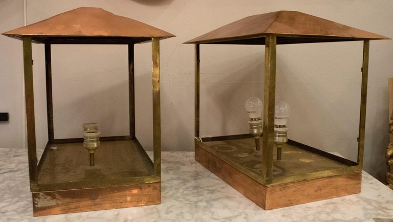 Midcentury Rectangular Copper Spanish Design Photophores for Light or Candles For Sale 1