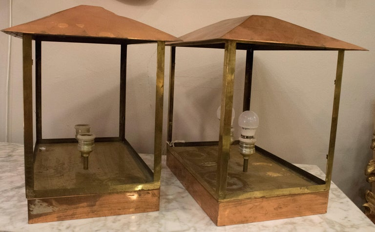 Midcentury Rectangular Copper Spanish Design Photophores for Light or Candles For Sale 2