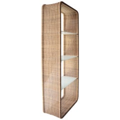 Midcentury Rectangular Glass Wicker Shelving, France, 1960