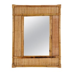 Midcentury Rectangular Italian Mirror with Bamboo and Woven Wicker Frame, 1970s