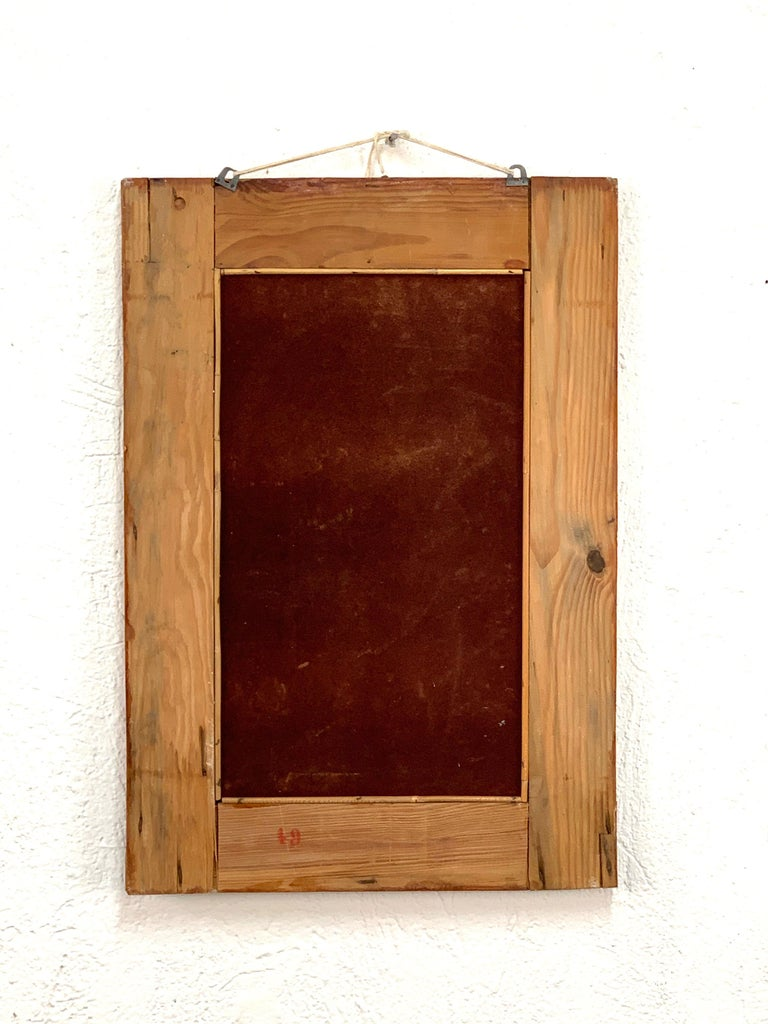 Midcentury Rectangular Italian Mirror with Bamboo Wicker Woven Frame, 1960s For Sale 5