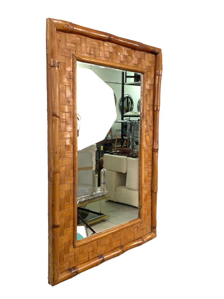 Mid-Century Modern Midcentury Rectangular Italian Mirror with Bamboo Wicker Woven Frame, 1960s For Sale