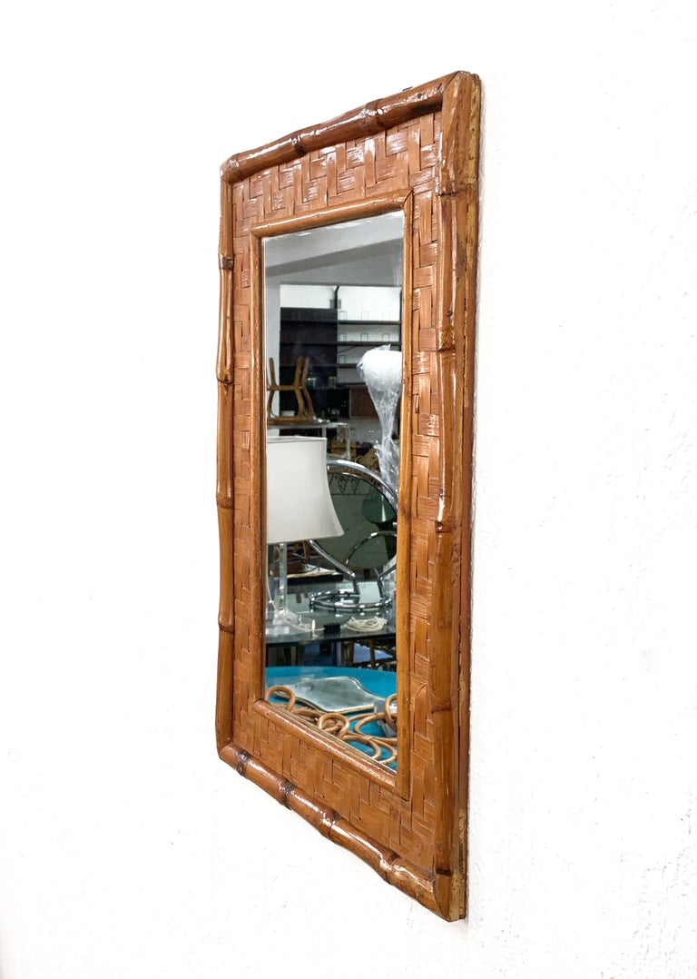 20th Century Midcentury Rectangular Italian Mirror with Bamboo Wicker Woven Frame, 1960s For Sale