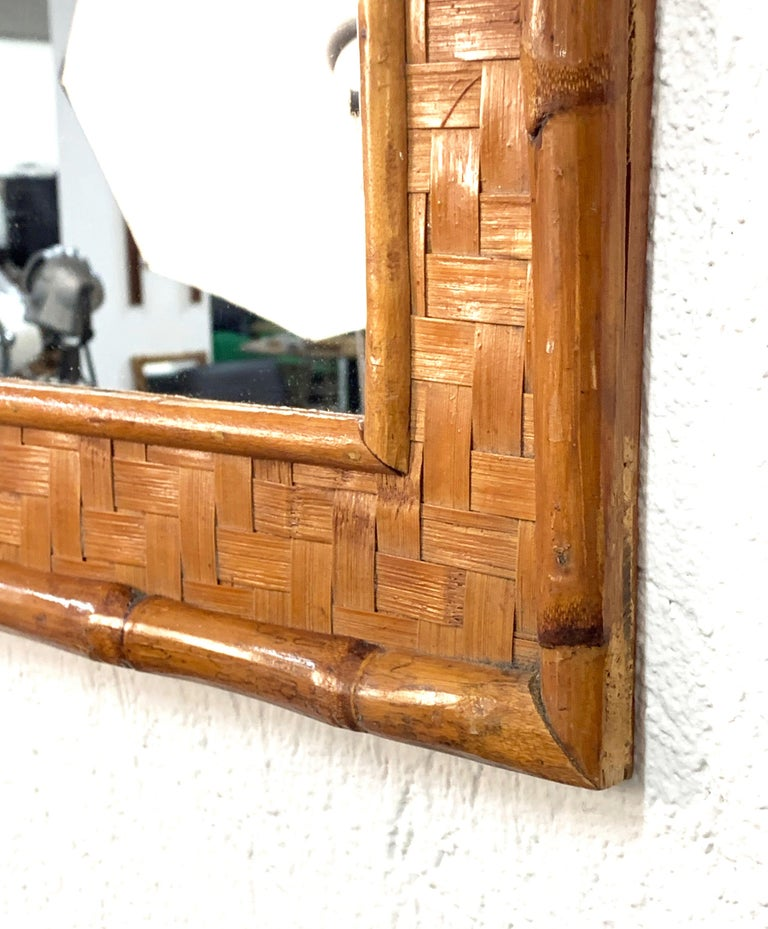 Midcentury Rectangular Italian Mirror with Bamboo Wicker Woven Frame, 1960s For Sale 1
