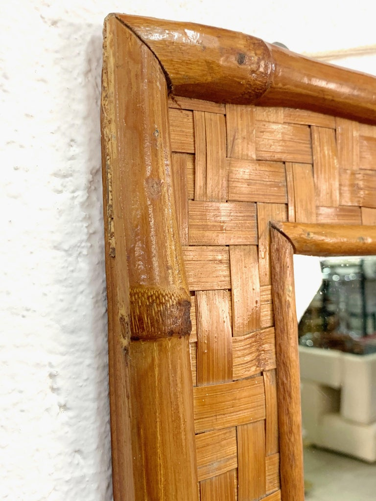 Midcentury Rectangular Italian Mirror with Bamboo Wicker Woven Frame, 1960s For Sale 2
