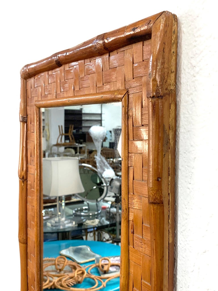 Midcentury Rectangular Italian Mirror with Bamboo Wicker Woven Frame, 1960s For Sale 3