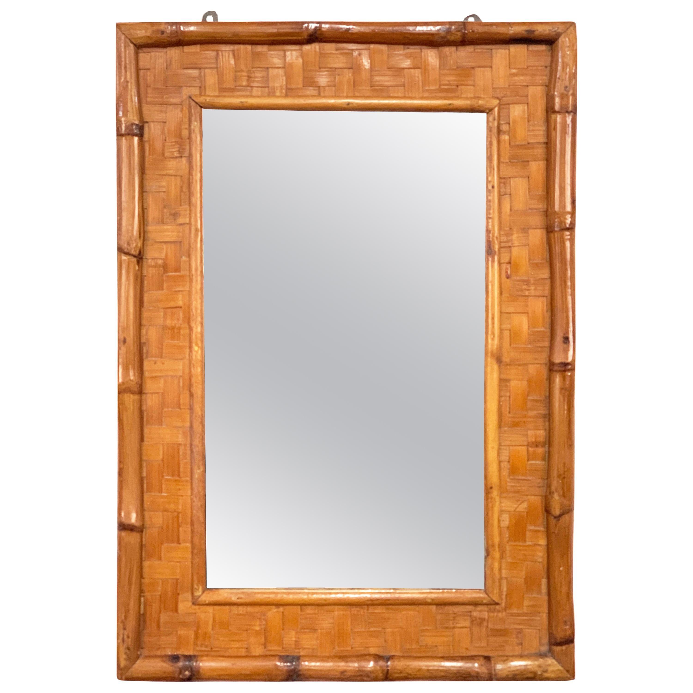 Midcentury Rectangular Italian Mirror with Bamboo Wicker Woven Frame, 1960s