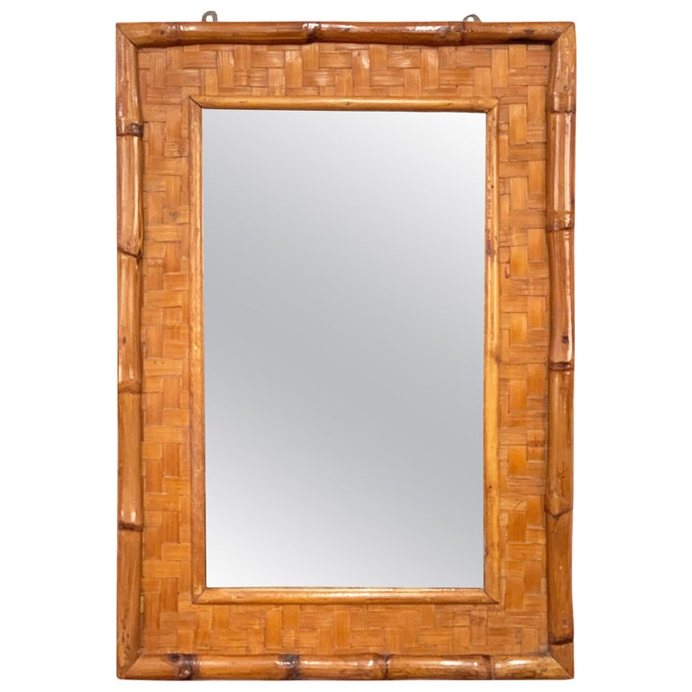 Midcentury Rectangular Italian Mirror with Bamboo Wicker Woven Frame, 1960s For Sale