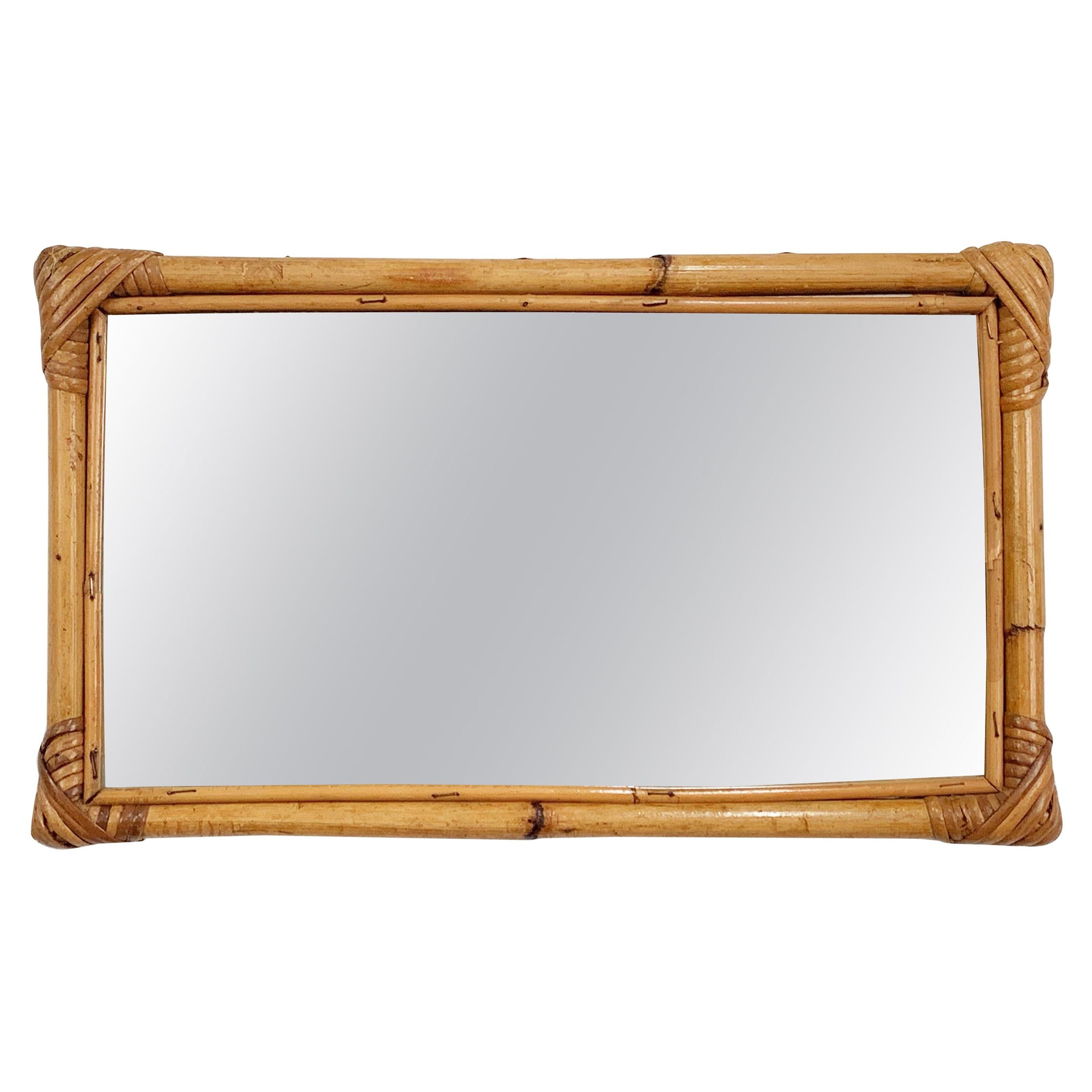 MIdcentury Rectangular Italian Mirror with Bamboo Wicker Woven Frame, 1970s