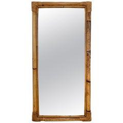 Midcentury Rectangular Italian Mirror with Bamboo Woven Wicker Frame, 1970s