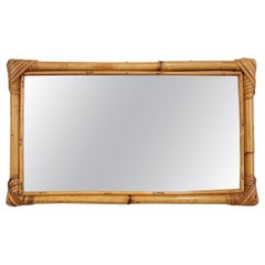 Midcentury Rectangular Italian Mirror with Double Bamboo Cane Frame, 1970s